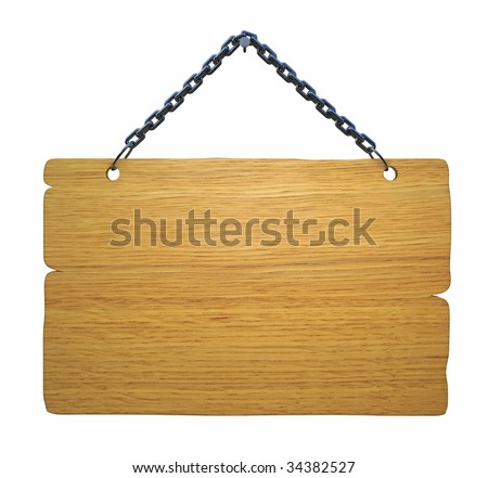 Empty notice board, made of wood hanging on a nail