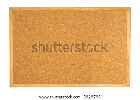 Empty notice corkboard (cork board) for pins isolated on white background - stock photo