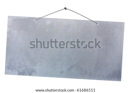 empty notice of aluminum sheet hanging with wire and nail - stock photo
