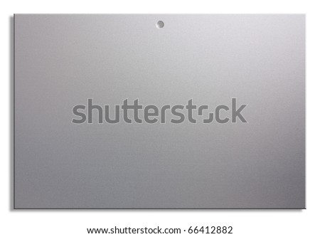 empty notice of satin aluminum, blank sheet with hole for hanging - stock photo