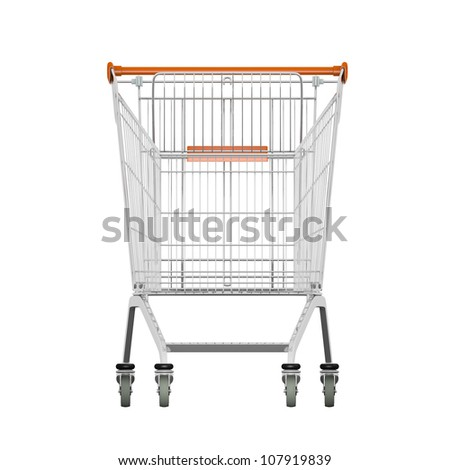 Empty of shopping cart isolated on white. render. Front view - stock photo
