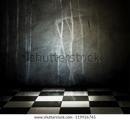 Empty of stone interior with checkered marble floor - stock photo