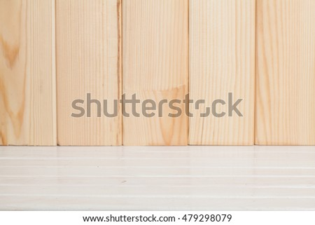 Empty of wood table top with wooden background.for montage product display/presentation