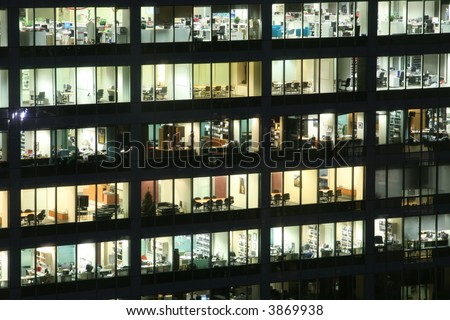 empty office building at night external view - stock photo
