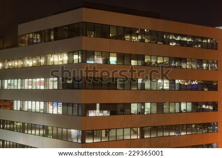 Empty office buildings at night, Glendale, California - stock photo