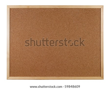 Empty office cork notice board isolated over white background - stock photo
