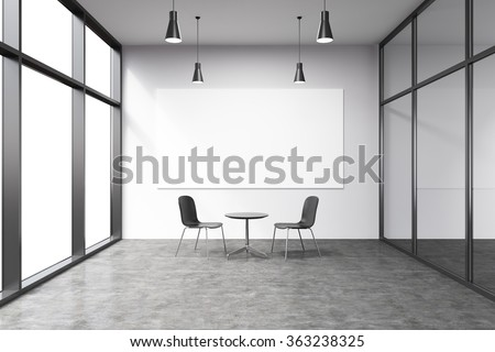 Empty office in a skyscraper, French window to the left, big white board on the white wall. A small black table and two black chairs at the wall, lamps above. Concept of talks. - stock photo