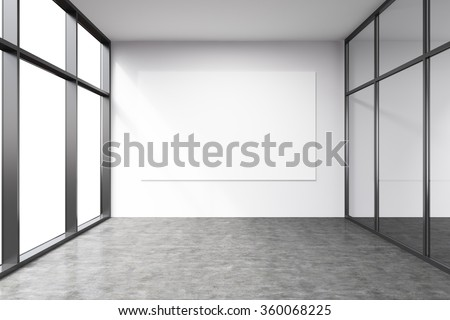 Empty office in a skyscraper, Panoramic windows to the left, big white board on the white wall.  Concept of work. - stock photo