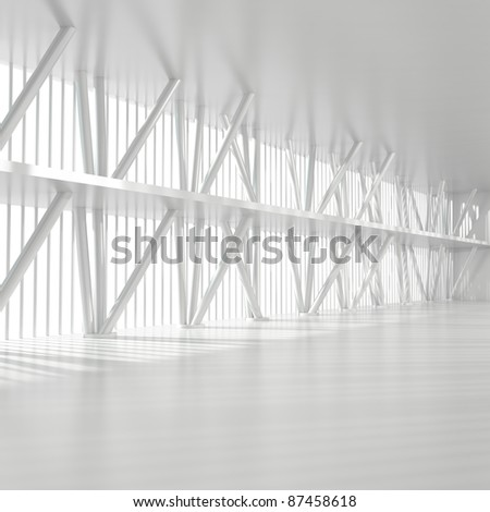 Empty Office Interior with Columns - 3d illustration - stock photo