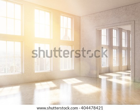 Empty office, panoramic windows and big doorway, city view, New York. Loft. Concept of new office. 3D rendering - stock photo
