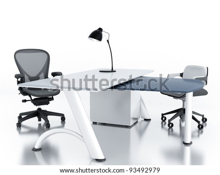 Empty office room with table and armchairs - stock photo