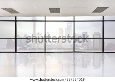 empty office space with large window, vintage picture style process - stock photo