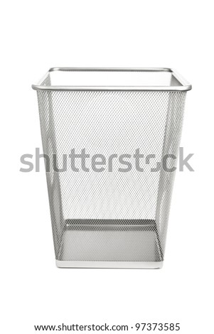 Empty Office Trash Can Isolated On White