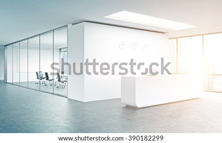 Empty office, white reception at white wall, three clocks on it. Panoramic window right, meeting room behind. Filter, toned. Concept of reception. 3D rendering - stock photo