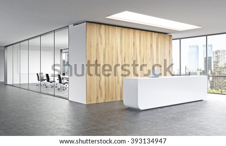 Empty office white reception at wooden wall panoramic window right meeting room behind