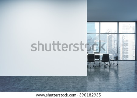 Empty office, white wall in front of panoramic window, Singapore view, table for meetings. Concept of new office. 3D rendering - stock photo
