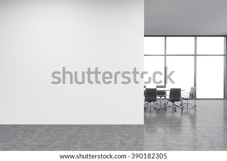 Empty office, white wall in front of panoramic window, table for meetings. Concept of new office. 3D rendering - stock photo