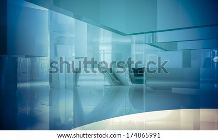 Empty office with columns and large windows, Indoor building. business space with blue light effects - stock photo