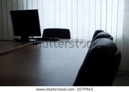 Empty office with computer - stock photo