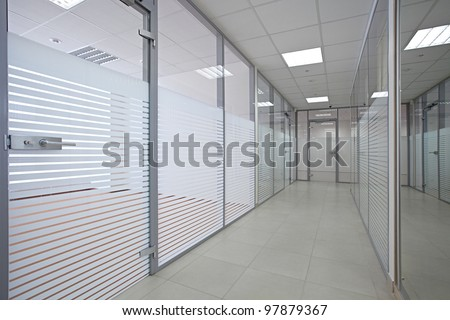 office glass walls. Empty Office With Glass Walls And Doors