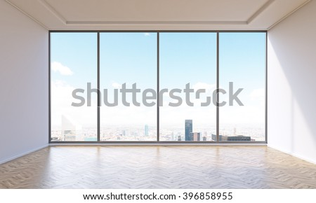 Empty office with panoramic window. City view. Concept of new office. 3D rendering - stock photo