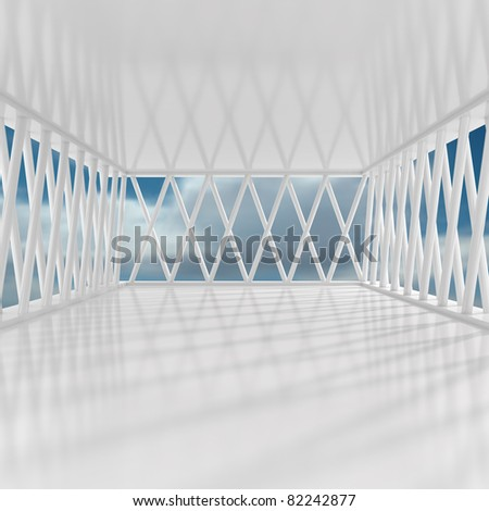 Empty Office With Sky - 3d illustration - stock photo
