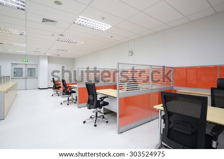 Empty office workplace with partition. - stock photo