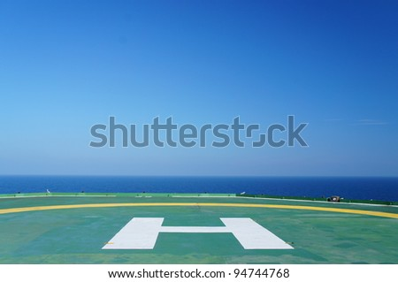 Empty Offshore Rig Helicopter Deck - stock photo
