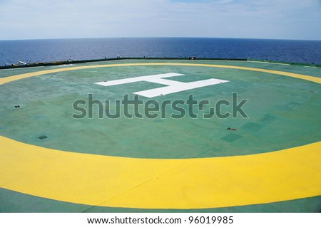 Empty Offshore Rig Helicopter Deck - Oil field - stock photo