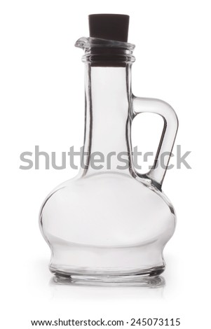 Empty oil bottle isolated on white background