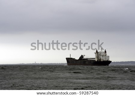 Empty Oil Tanker heading to Rhode Island port - stock photo