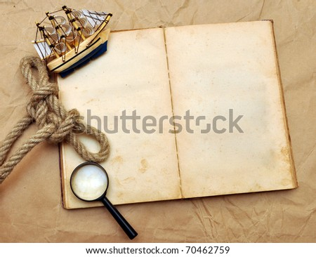 empty old book, and model classic boat, rope and magnifying glass