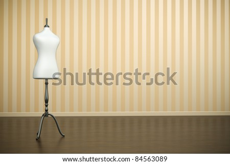 Empty old-fashioned interior with white clothing mannequin. 3D render. - stock photo