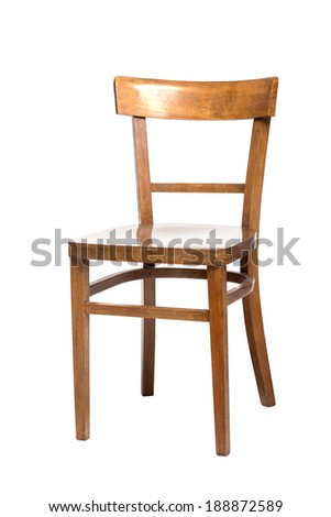 empty old fashioned wooden chair, isolated on white - stock photo