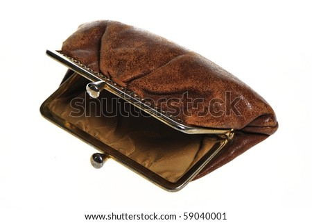 Empty old open brown wallet - stock photo