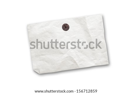 Empty old paper ad hanging on rusted push pin isolated on white - stock photo