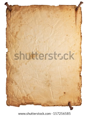 Empty old paper with rusty nails isolated on white background - stock photo