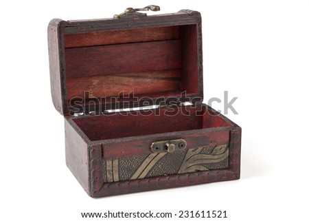Empty Old wooden chest - With Clipping Path - - stock photo