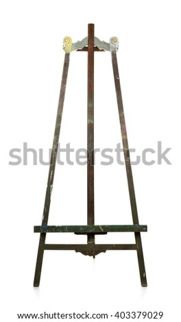 Empty old wooden easel over white background - stock photo