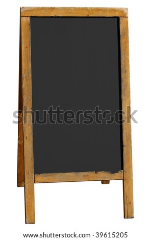 Empty old wooden pub menu board isolated on white.