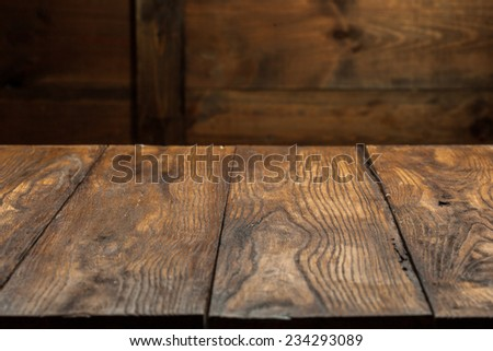 empty old wooden table top - stock photo