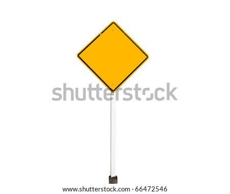 Empty old yellow road sign isolate - stock photo
