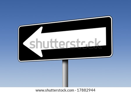 Empty one-way sign against blue sky - stock photo