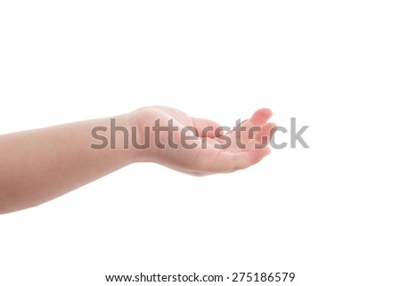 Empty open baby hand on white background isolated