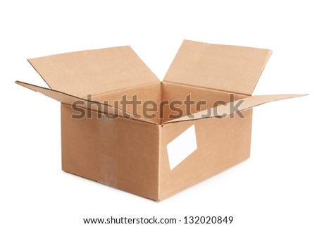 empty open box on a white background - stock photo