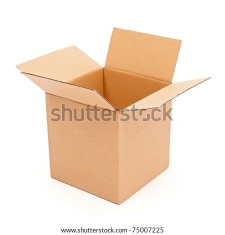 Empty, open cardboard box isolated on white - stock photo