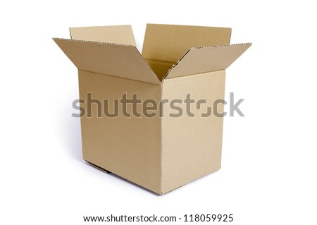 Empty, open cardboard box on the white background