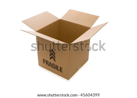 Empty Open Cardboard Box on White Background - stock photo
