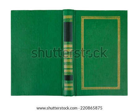 empty open green book cover isolated on white - stock photo