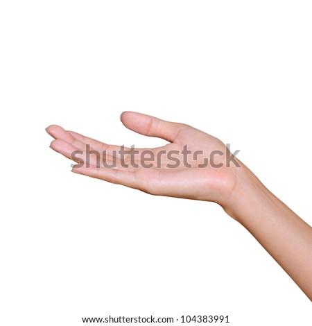 Empty open hand isolated on white - stock photo